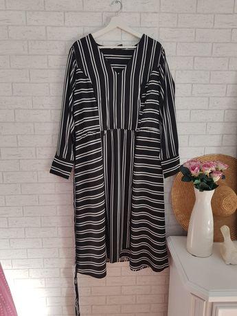 Czarno biała sukienka paski 44 XXL wiskoza Asos nowa