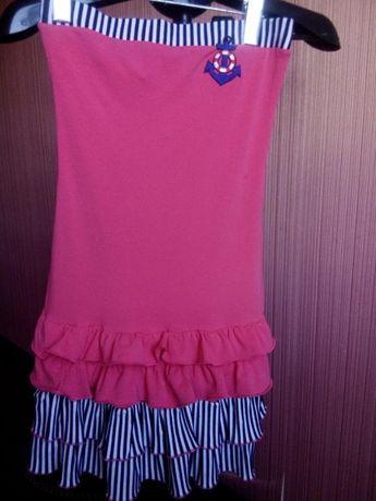 Платьице-бюстье в морском стиле для девочки 10-12лет.Цена снижена