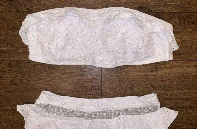 Изысканный белый вышитый купальник с перфорацией asos вышивка м, 46-48