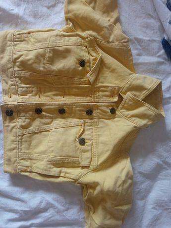 Детская джинсовая куртка , жёлтого цвета