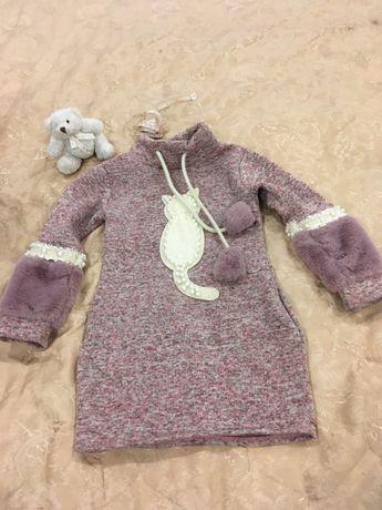 Зимнее теплое платье туника нарядное