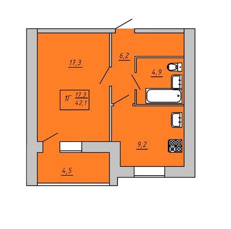 Продам однокімнатну квартиру. ЖК «Київський» 42.1 кв.м. 2-га черга