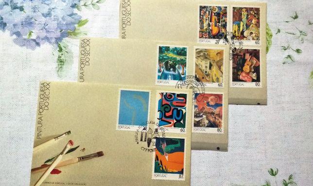 Pintura Portuguesa Sec. XX em selos FDC