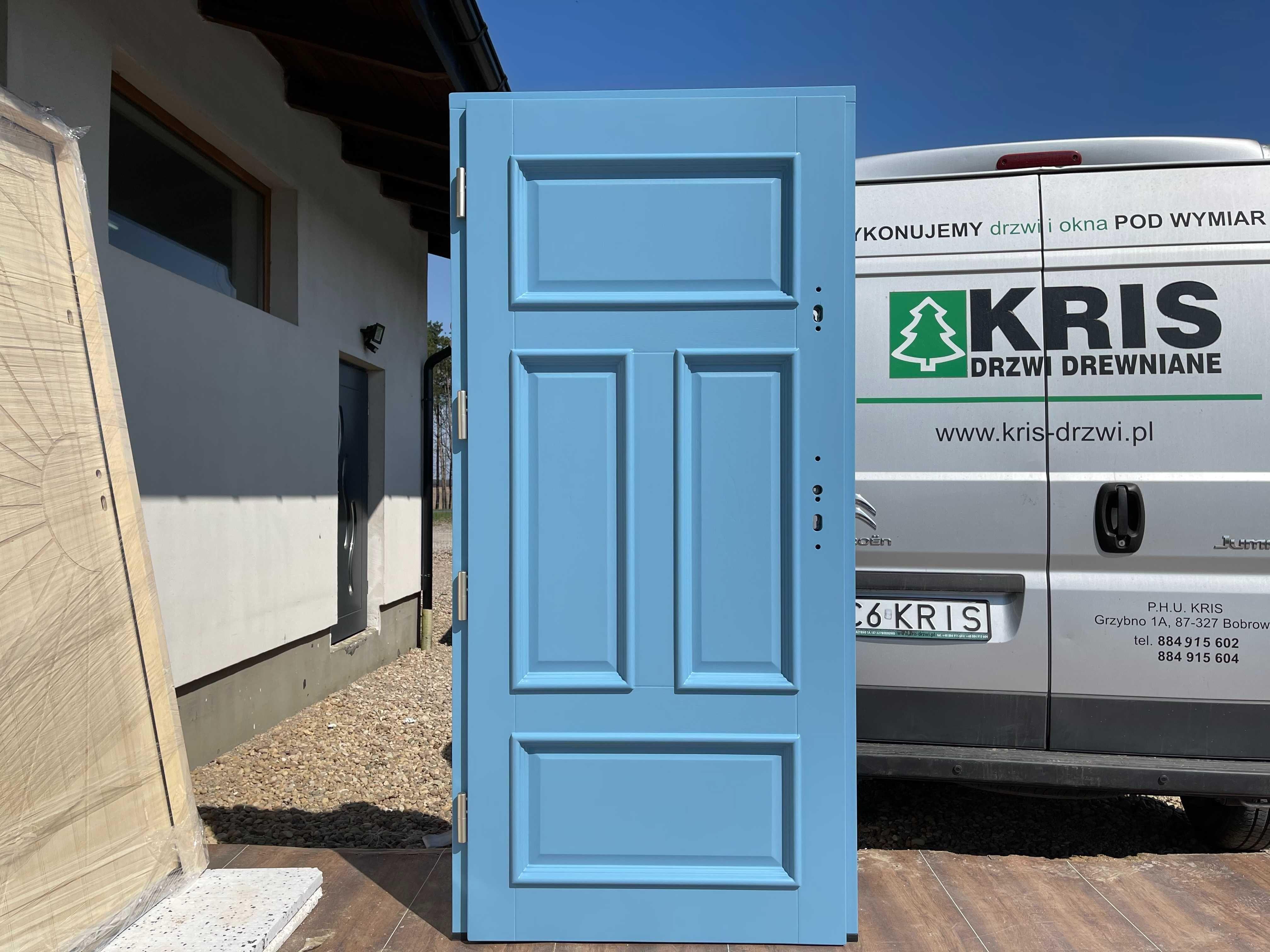 Drzwi zewnętrzne ocieplane niebieskie 5024  CAŁA POLSKA