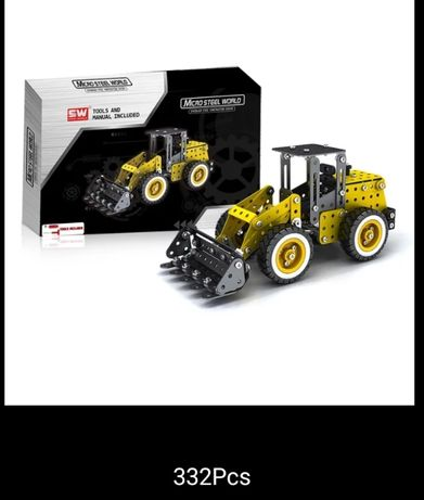 Конструктор металлический 332 детали Бульдозер ( трактор)