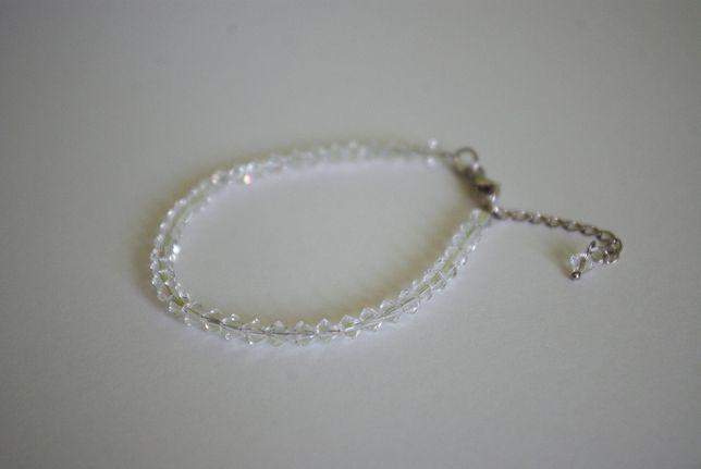 ślubna bransoletka z kryształami srebro