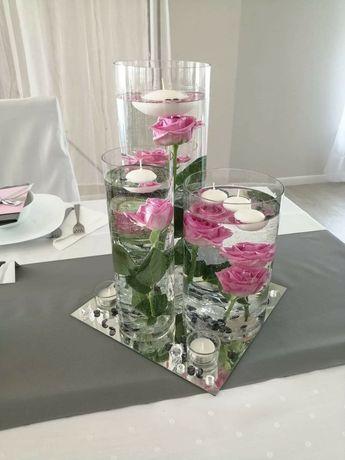 Wazony dekoracje na stół weselny