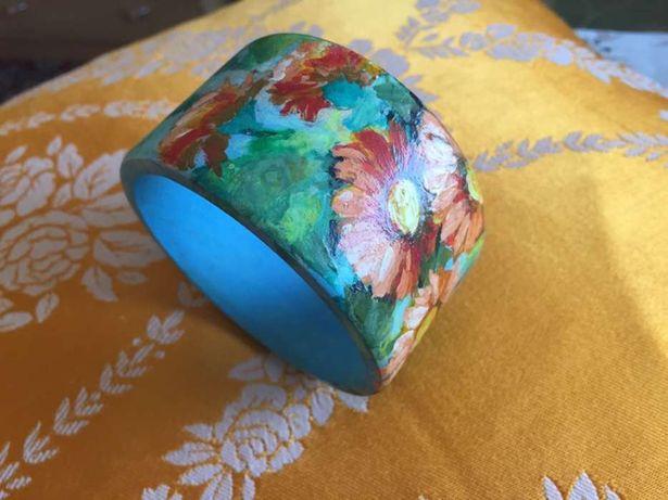 Bransoleta drewniana ręcznie malowana idealna na prezent!