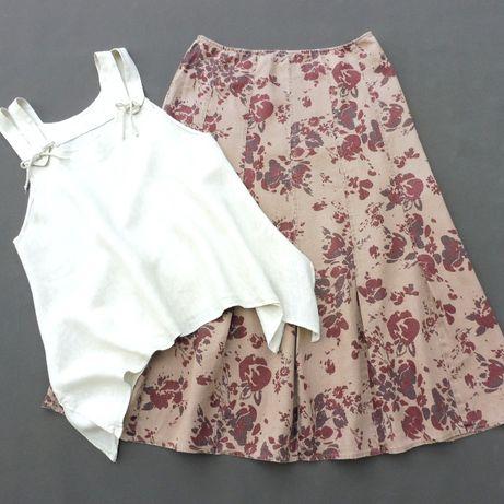 PER UNA spódnica len kwiaty + bluzka len r. 44