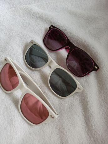Okulary przeciwsłoneczne różowe białe