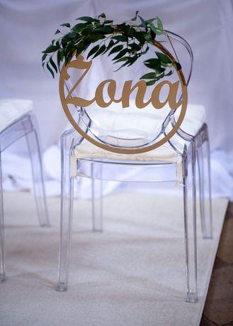 Krzesla do Kosciola slub wesele transparentne