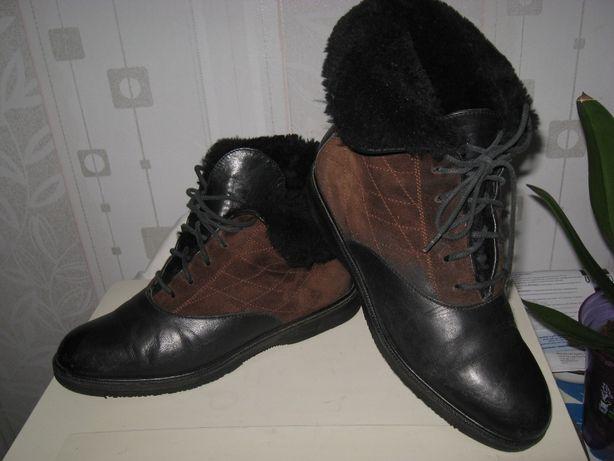 Ботинки женские кожаные теплые на меху,низком ходу,широкие ножки, р 39