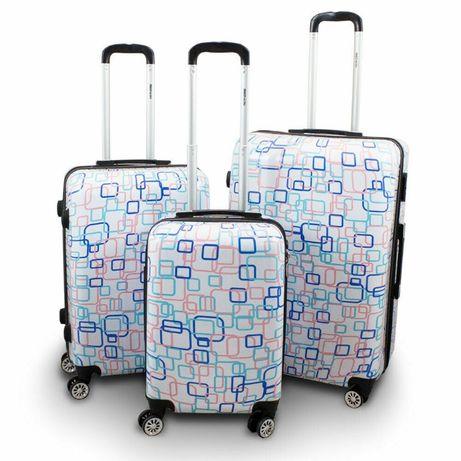 Komplet zestaw walizek na kółkach 3szt Berwin Colorful Square 17009