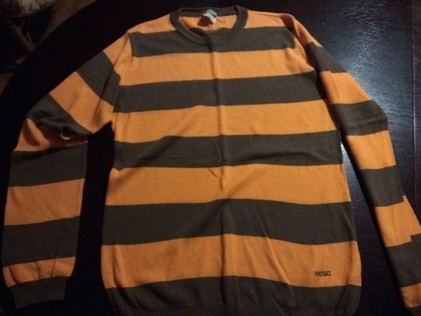 sweter w pomarańczowo-szare pasy - rozmiar s