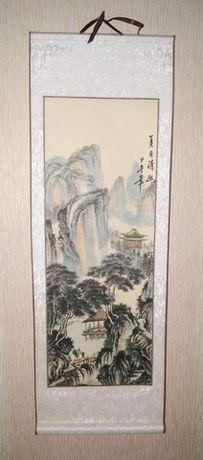 Изысканная картина-свиток на рисовой бумаге. Пейзаж. 24 на 70 см