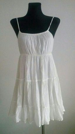 Biała sukienka falbanka S M