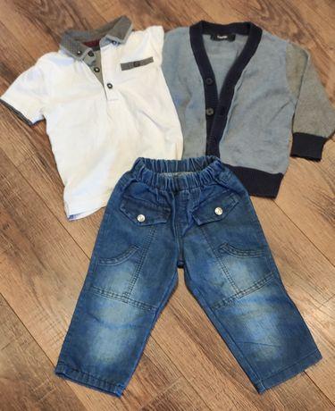 Костюм тройка джинсы футболка блейзер на 18-24 мес