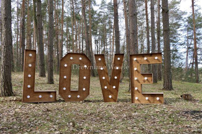 Rustykalny, drewniany napis LOVE! Oświetlany. Dekoracje ślub, wesele