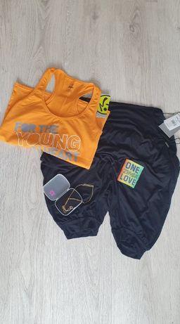 Zumba koszulka M + spodenki L+ akcesoria komplet