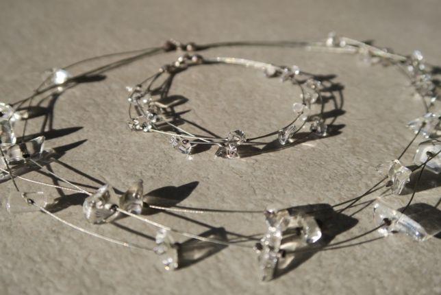 Naszyjnik i bransoletka przezroczyste szkło ślub,impreza,Dzień Kobiet
