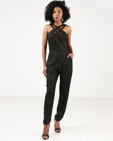 Комбинезон (чёрный) City Goddess London Cross Over Glitter Jumpsuit