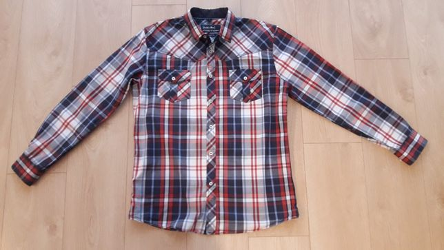 koszula w kratkę krata Leather Man Slim fit L