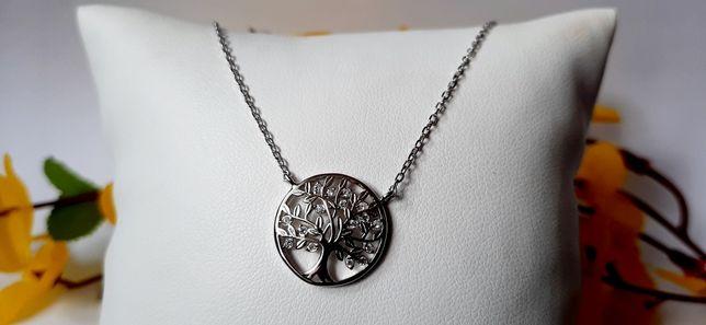 Srebrny łańcuszek drzewko szczęścia