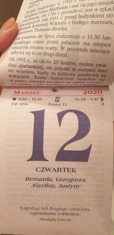 Kartka z kalendarza 2020 r. z sentencjami.