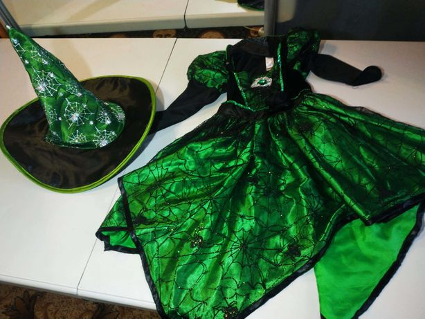 Платье + шляпа ведьмочки на Хеллоуин на девочку 3-4 года от фирмы Тu