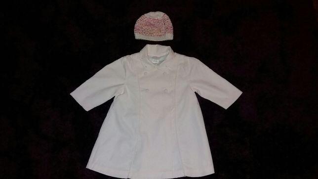 Płaszczyk sztruksowy blady róż wiosenno-jesienny 86 + czapka