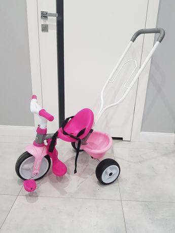Rowerek dziecięcy trójkołowy Smoby różowy.
