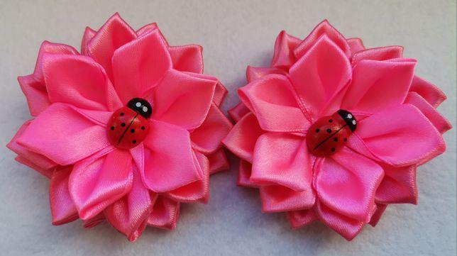 Spinki do włosów różowe kwiaty hand made