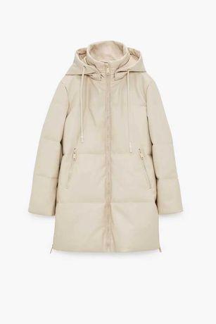 Zara Pikowany płaszcz ze sztucznej skóry XL