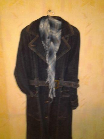 Пальто - плащ джинсовое(без подкладки)