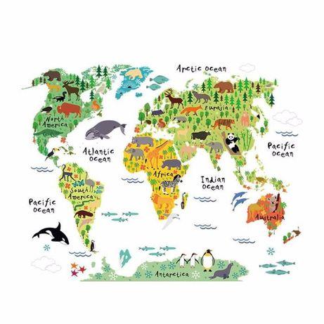 Vinil Mapa Mundo Quarto Criança - Oferta do aplicador (Novo)