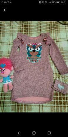 Платье - туника для девочки 4-7 лет. Пайетки перевёртыши.