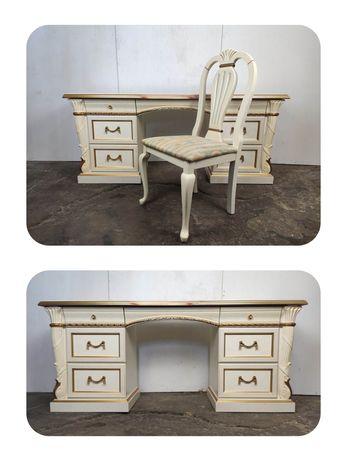 Zdobione włoskie biurko toaletka z krzesłem, Design by Rossetto, Italy