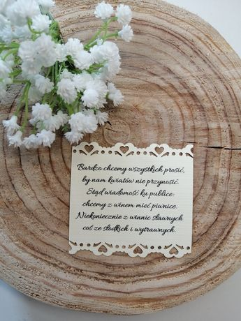 Dodatkowa karteczka do zaproszeń ślubnych co kupić zamiast kwiatów