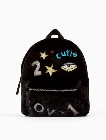 Меховой рюкзак ZARA Kids с блестящими нашивками