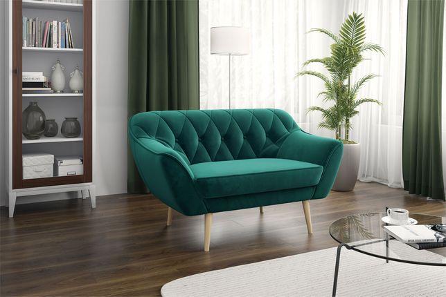 Dwuosobowa sofa, kanapa do salonu butelkowa zieleń