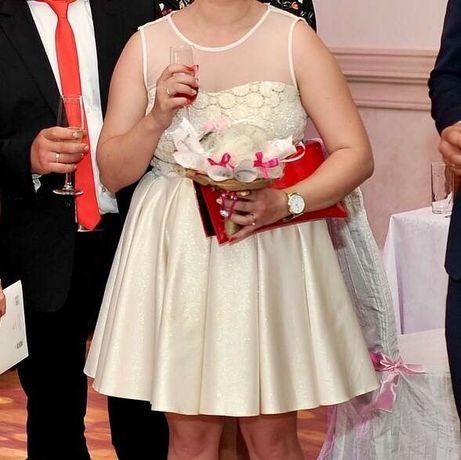Sukienka rozkloszowana sukienka wesele złota mini r. 40 kokomoda