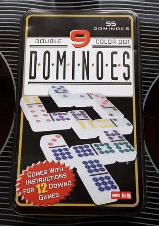 Domino - kości do gry - zestaw w metalowym pudełku. Nieużywane