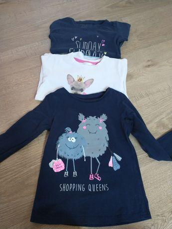 Bluzeczki dla dziewczynki r.110 3szt.