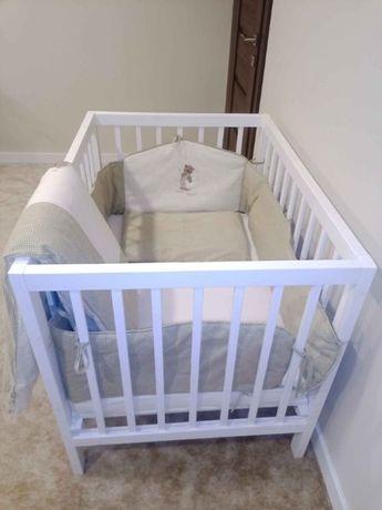 Łóżeczko drewniane białe niemowlęce 100/70