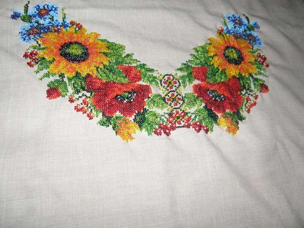 Вышиванка платье вышитое бисером