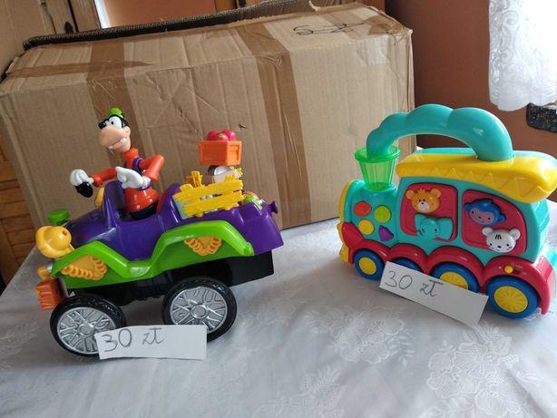 Zabawka interaktywna lokomotywa zwierzątka oraz samochód Goofy