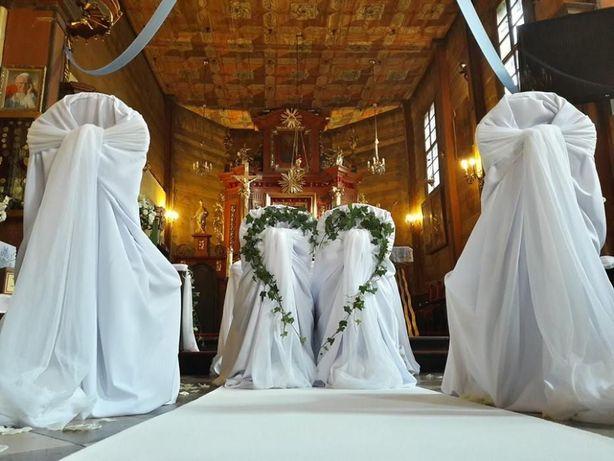 Pokrowiec uniwersalny na krzesło - biały, matowy, na ślub, do Kościoła