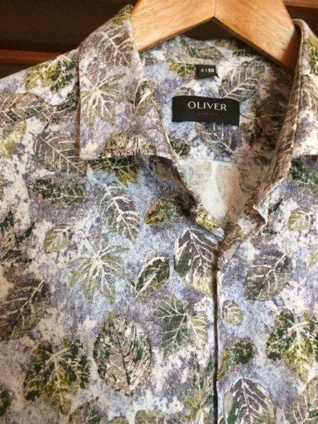 Koszula męska slim listki print roślinny kwiaty wyszczuplona 41 Oliver