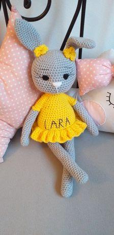 Duzy ok 52 cm Królik króliczka baletnica na szydełku dla dziewczynki