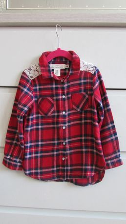 Koszula w kratę marki H&M kolor czerwony rozm. 104
